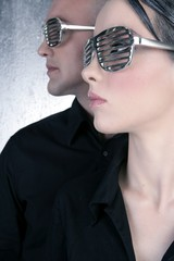 futuristic silver glasses couple portrait profile