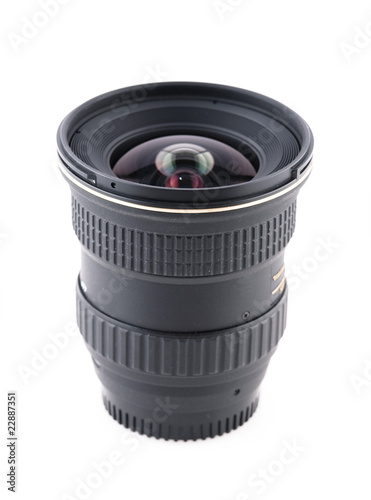 zoom wideangle lens for slr camera (isolated on the white)
