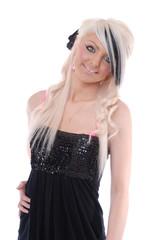 Smiling blond girl in black dress
