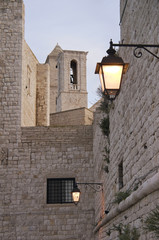 View of Belltowers Giovinazzo Cathedral. Apulia.