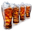 Quadro Glasses with cola and ice cubes