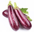 Purple eggplants with leaves