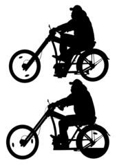 Big cyclist in motion