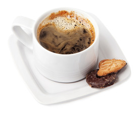 A cup of hot coffee and delicious chocolate cookies.