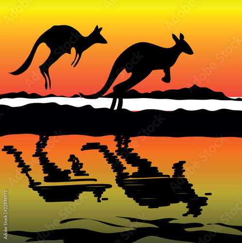 Kangaroo on the sunset Australia icon