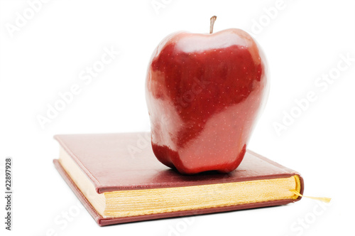 Red apple on the book isolated