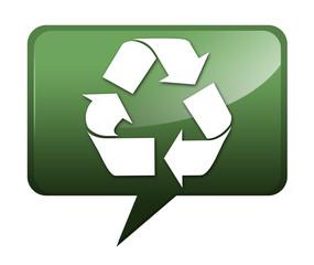 "Speech bubble shaped icon ""Recycling"""