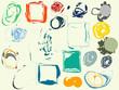 Set of artistic grunge design elements