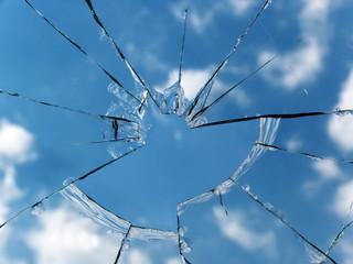 Glass  broken  window