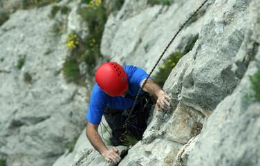 Climbing.
