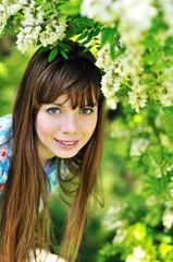 girl near acacia