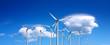 Wind farm on blue sky, panorama