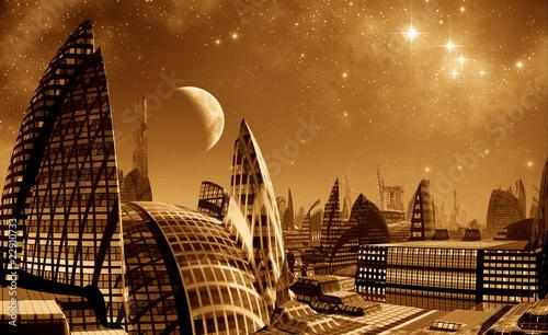 Fototapeten,metropole,zukunft,nacht,skyscraper