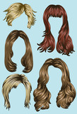 Hand drawn set of different hair styles poster