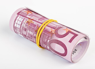 5 thousand Euro rolled up on white background