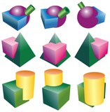 intersections of objects of ball tube cube pyramid and cylinder poster