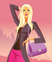 fashion shopping girls with  bag - vector illustration
