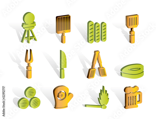 picnic, barbecue and grill icons - vector icon set