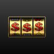 Dollar jackpot - winning in slot machine. Vector.