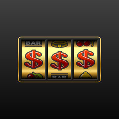 Dollar jackpot - winning in slot machine. Vector.