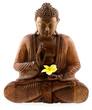bénédiction de bouddha, statuette en bois, fond blanc