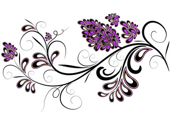 Decorative branch with lilac flowers