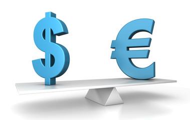in balance - euro and dollar