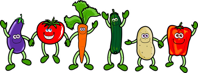 Funny vegetables holding hands