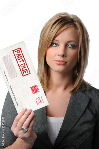 Woman Holding Past Due Envelope