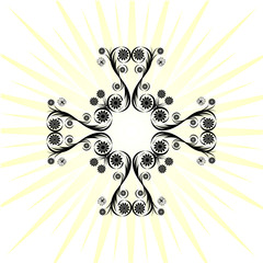 vector. Cross made with floral ornament