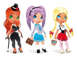 Three kind of ladies. Cartoon and vector character.