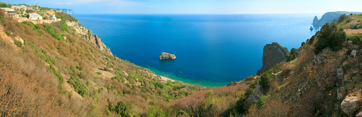 Phiolent Cape coastline panorama (Crimea, Ukraine)