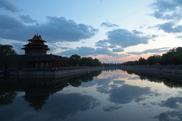 At dusk, The Forbidden City in Beijing, China