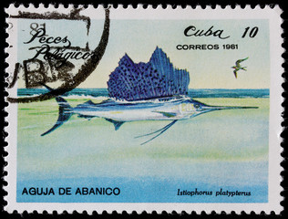 post stamp printed  shows sailfish