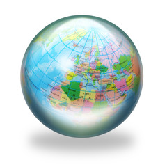 Glass sphere with world globe within