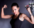 Beautiful woman show your biceps