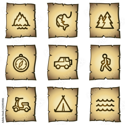Travel web icons set 3, papyrus series