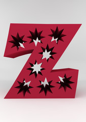isolated letter Z 3D red starsland alphabet letter front of