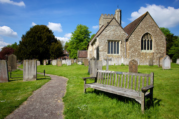Rural English Church Scene