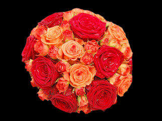 Bouquet of orange and red roses