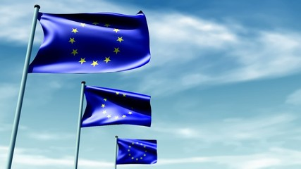 European flags with sky