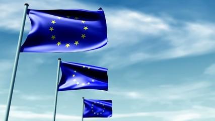 European flags with sky