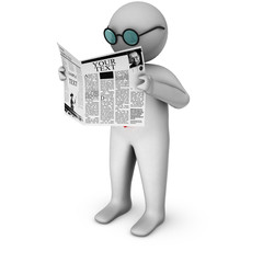 3d businessman reading newspaper