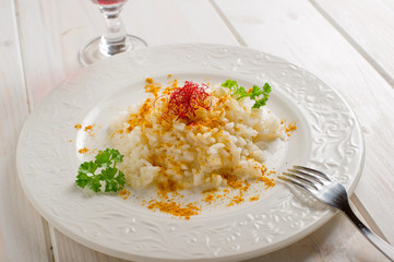 rice with saffron and curry on dish