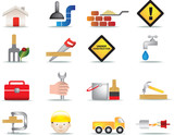 construction and diy icon set poster