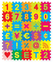 Vector Number, Maths and Symbols Puzzle Set