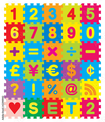 Wall mural Vector Number, Maths and Symbols Puzzle Set