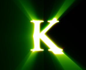 k, letter, shine