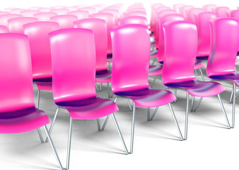 Auditorium with pink chairs 3d model