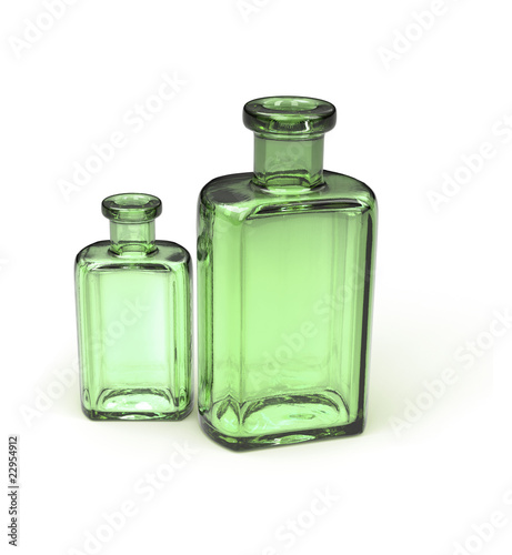 Old green bottles isolated on white 3d model